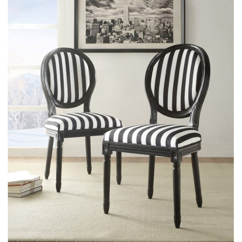 Linon Black And White Stripe Chair