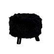 Linon Black Faux Fur Foot Stool