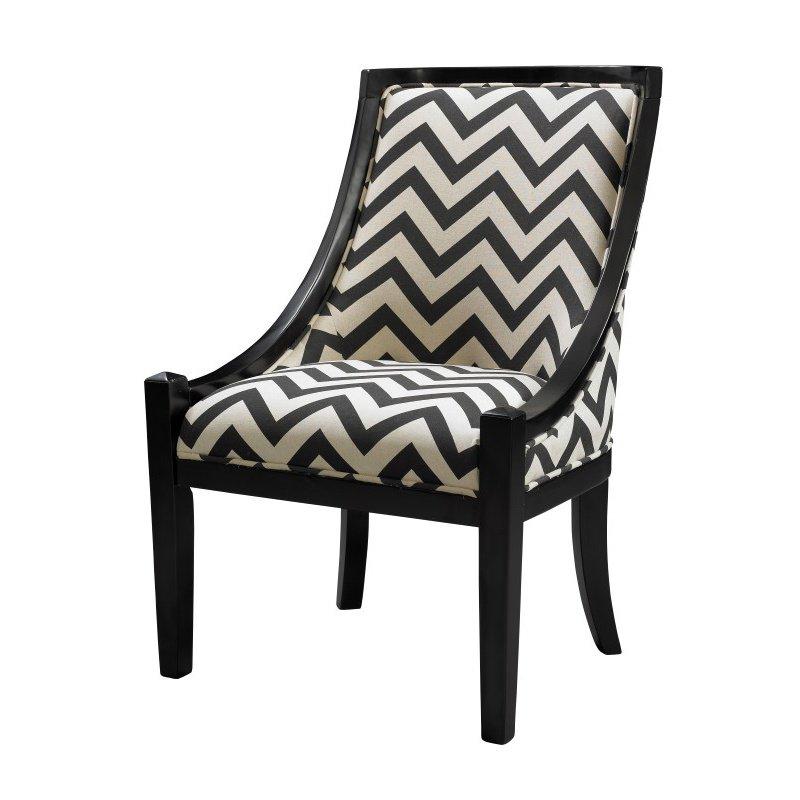 Linon Carnegie Chair in Black Chevron