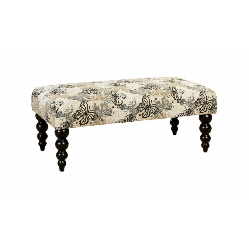 Linon Claire Bench-Butterfly Fabric withBlk Legs