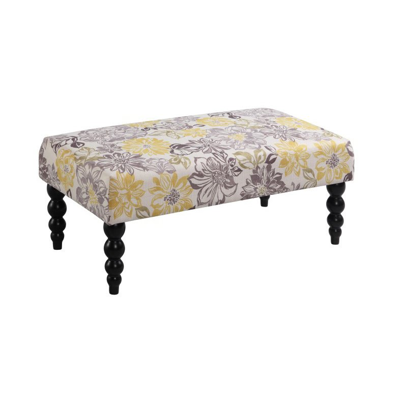 Linon Claire Gray And Yellow Floral Bench