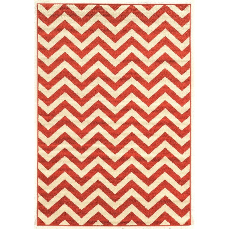 Linon Claremont Collection CT02 Rug 5' x 7' Terracotta and Ivory Rectangle