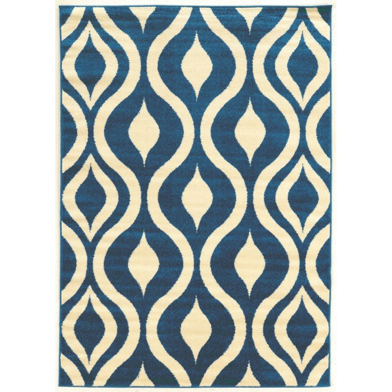 """Linon Claremont Collection CT21 Rug 8' x 10' 2"""" Blue and Ivory Rectangle"""