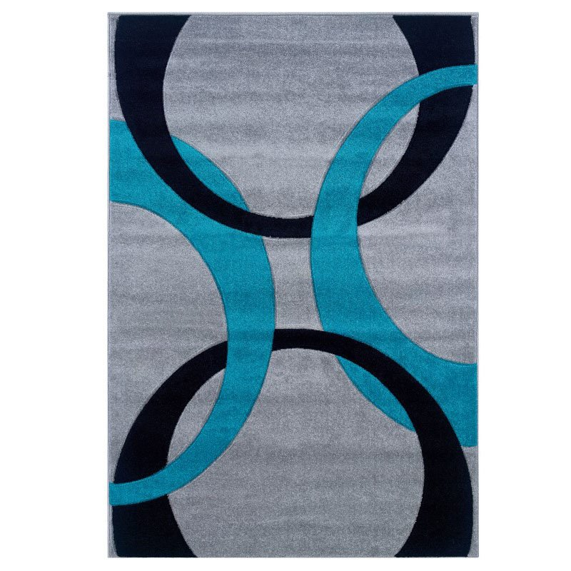 "Linon Corfu CU04 Rug 1' 10"" x 2' 10"" Grey and Turquoise Rectangle"