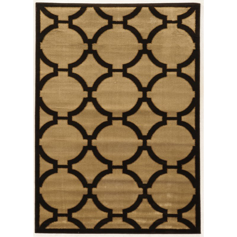 Linon Elegance Collection EE305 Rug 8' x 10' Beige and Chocolate Rectangle