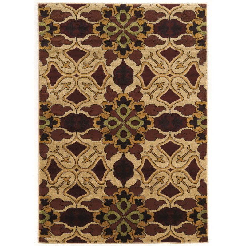 """Linon Elegance Collection EE344 Rug 5' x 7' 3"""" Beige and Burgundy Rectangle"""