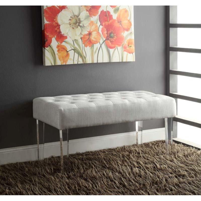 Linon Ella Glitz Acrylic Leg Bench