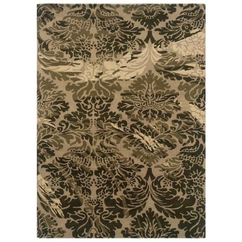 Linon Florence Collection FL03 Rug 5' x 7' Taupe and Olive Rectangle