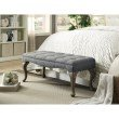 Linon Loire Cabriolet Washed Gray Linen Bench