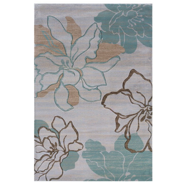 """Linon Milan MN05 Rug 1' 10"""" x 2' 10"""" Ivory and Turquoise Rectangle"""