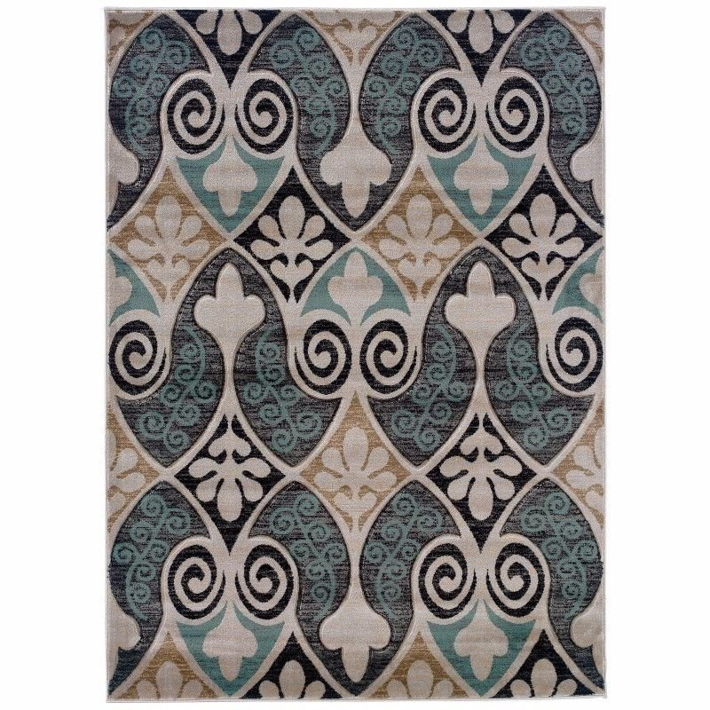 """Linon Milan MN35 Rug 8' x 10' 3"""" Black and Turquoise Rectangle"""