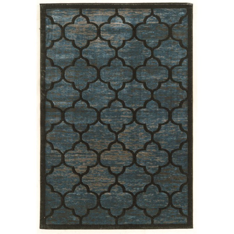"""Linon Platinum Collection PM03 Rug 5' x 7' 6"""" Blue and Grey Rectangle"""