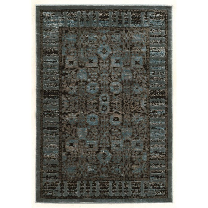 """Linon Platinum Collection PM11 Rug 5' x 7' 6"""" Blue and Black Rectangle"""