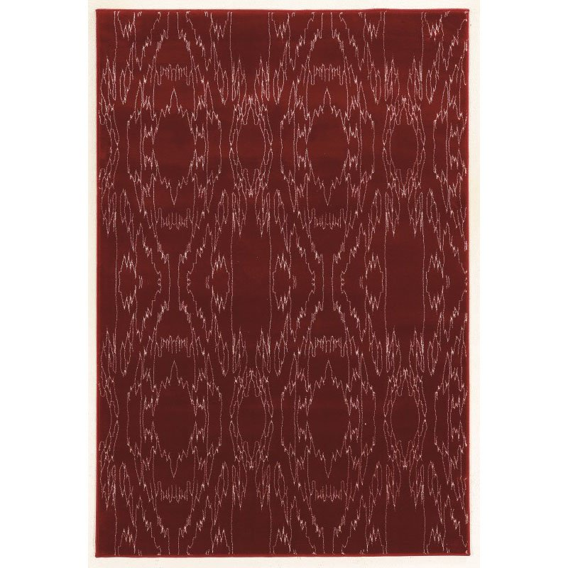 Linon Prisma Collection PA03 Rug 2' x 3' Red and White Rectangle