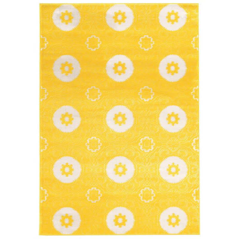 "Linon Prisma Collection PA14 Rug 8' x 10' 4"" Yellow and White Rectangle"