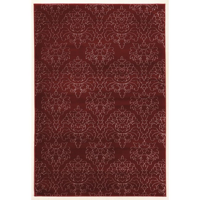 """Linon Prisma Collection PA19 Rug 5' 3"""" x 7' 6"""" Red and White Rectangle"""