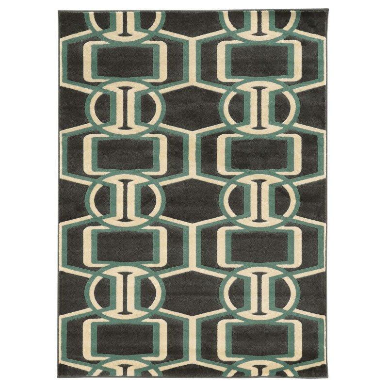 Linon Roma Collection RA03 Rug 8' x 10' Chocolate and Turquoise Rectangle