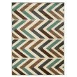 """Linon Roma Collection RA06 Rug 5' 3"""" x 7' Ivory and Turquoise Rectangle"""