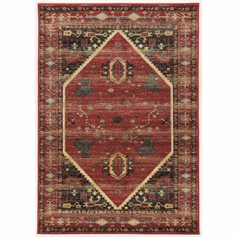 """Linon Serape Collection SE02 Rug 5' x 7' 6"""" Red and Black Rectangle"""