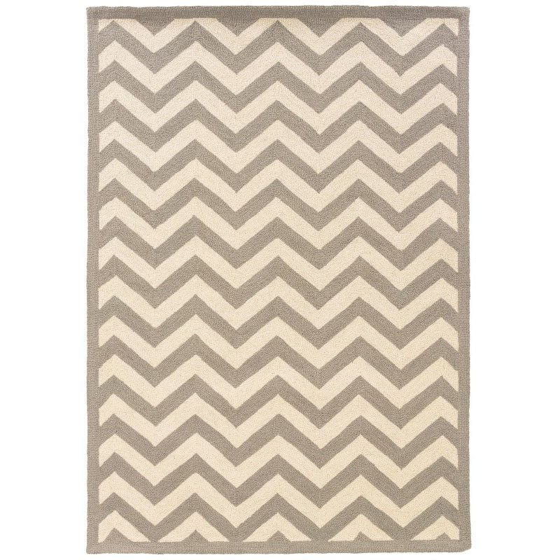 Linon SILHOUETTE SH01 Rug 5' x 7' Grey and White Rectangle
