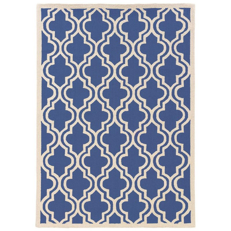 Linon SILHOUETTE SH11 Rug 5' x 7' Navy and White Rectangle