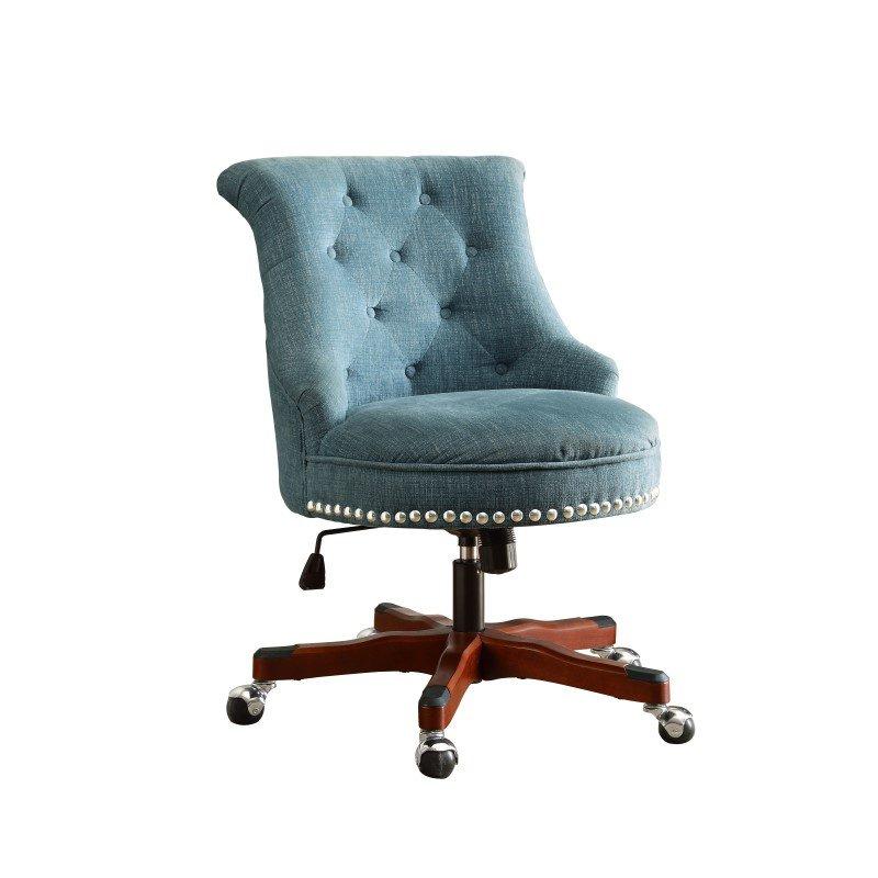 Linon Sinclair Office Chair in Aqua & Dark Walnut Wood Base