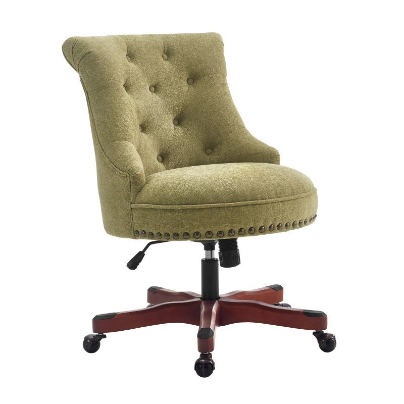 Linon Sinclair Office Chair in Green - Dark Walnut Wood Base
