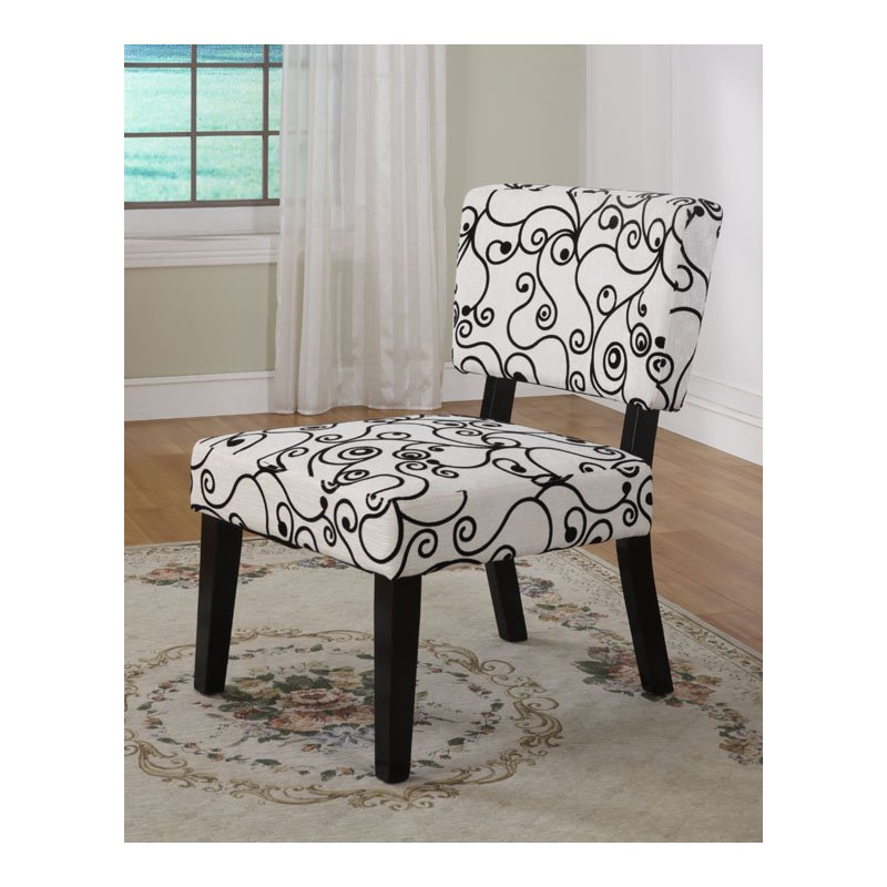 Linon Taylor Accent Chair in White Black Circles