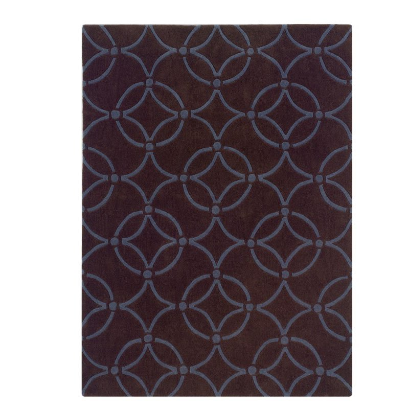Linon Trio TA065 Rug 8' x 10' Chocolate and Blue Rectangle