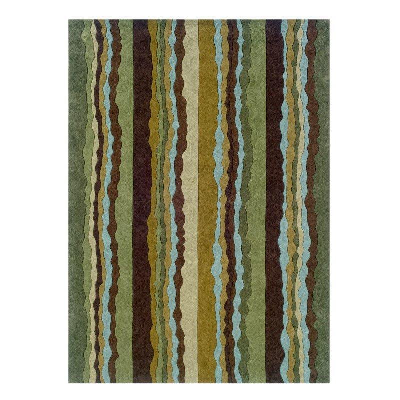 "Linon Trio TA066 Rug 1' 10"" x 2' 10"" Green and Spa Blue Rectangle"