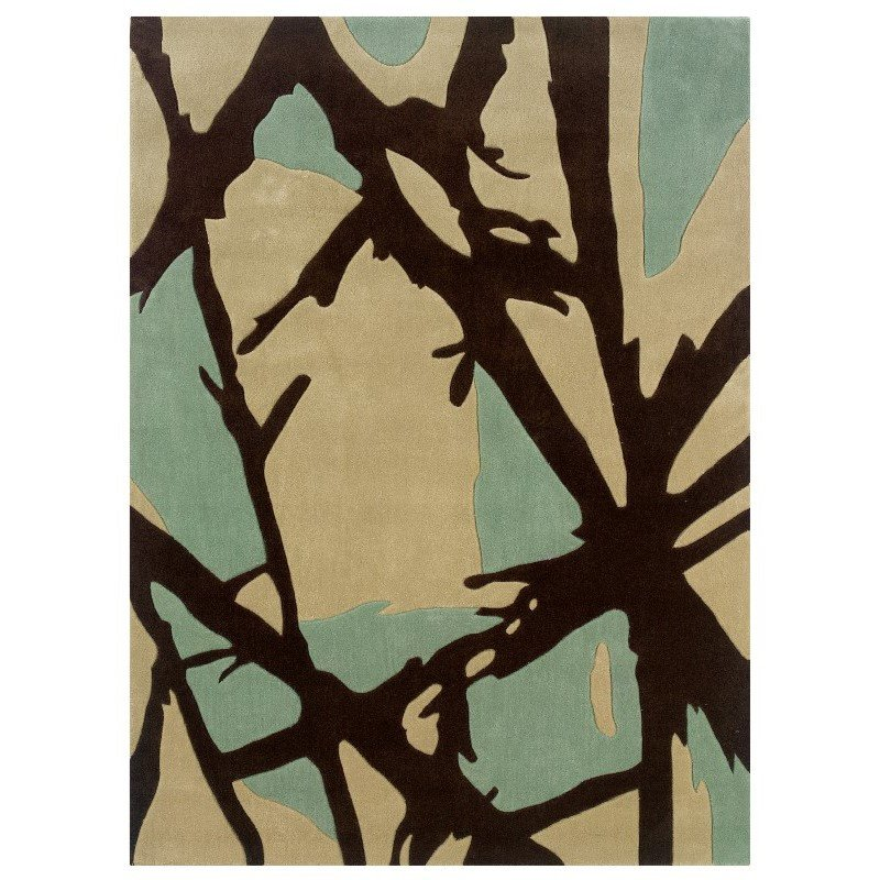 """Linon Trio TAD351 Rug 1' 10"""" x 2' 10"""" Charcoal and Pale Blue Rectangle"""