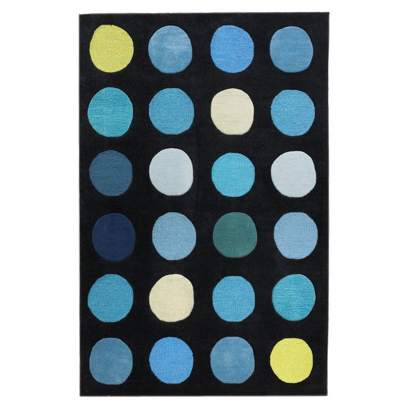 Linon Trio TARL15 Rug 5' x 7' Black and Blue Rectangle