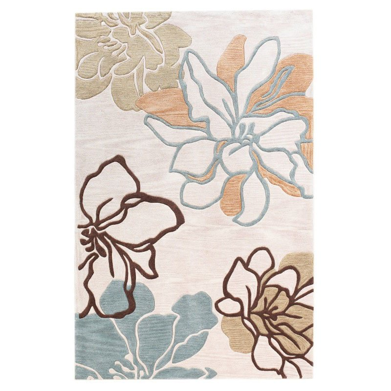 Linon Trio TASD07 Rug 5' x 7' Beige and Turquoise Rectangle