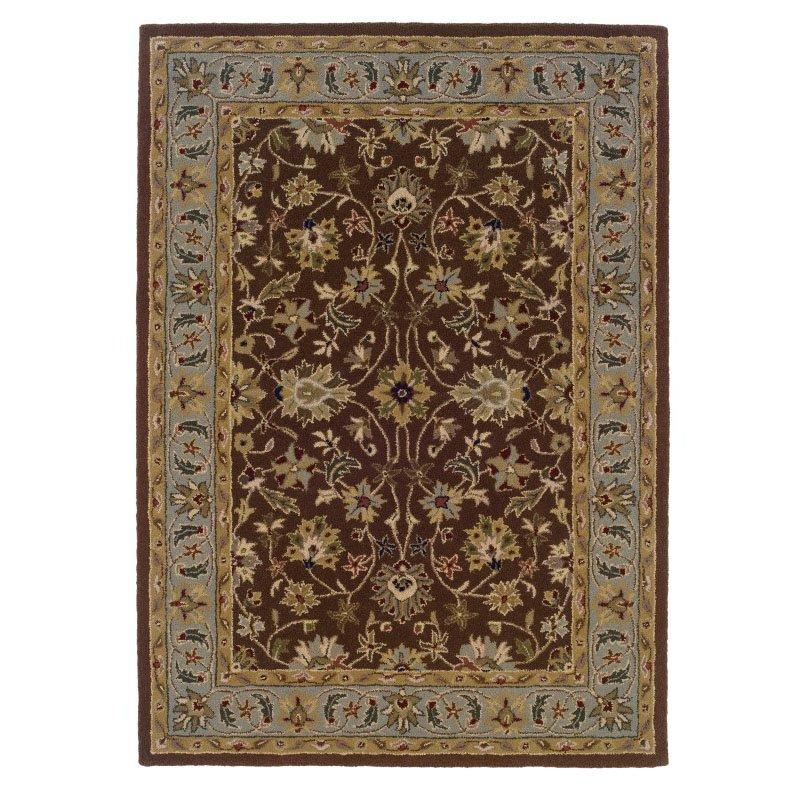 """Linon Trio Traditional TT02 Rug 1' 10"""" x 2' 10"""" Brown and Light Blue Rectangle"""