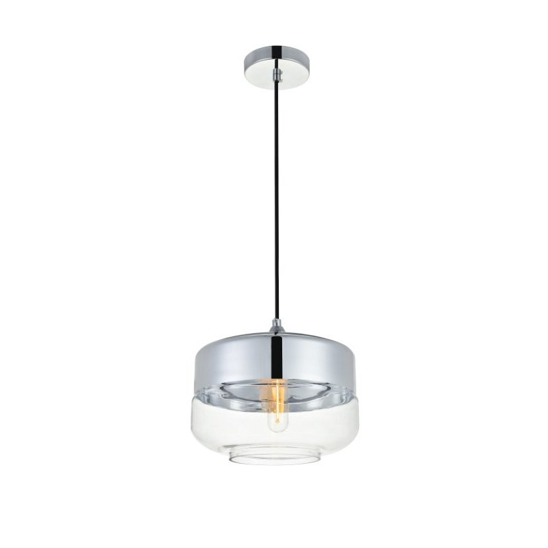 Living District Ashwell 1 Light Chrome Pendant with Clear Glass (LD2243C)