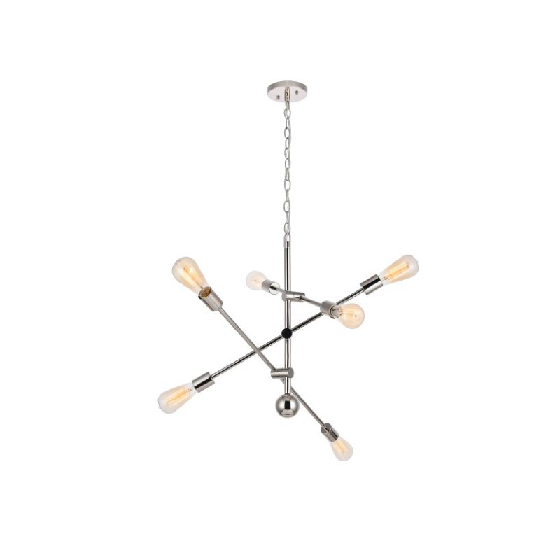 Living District Axel 6 Lights Polished Nickel Pendant (LD8007D29PN)