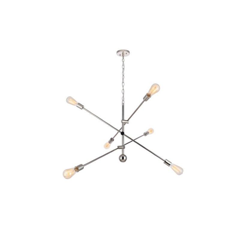 Living District Axel 6 Lights Polished Nickel Pendant (LD8010D42PN)