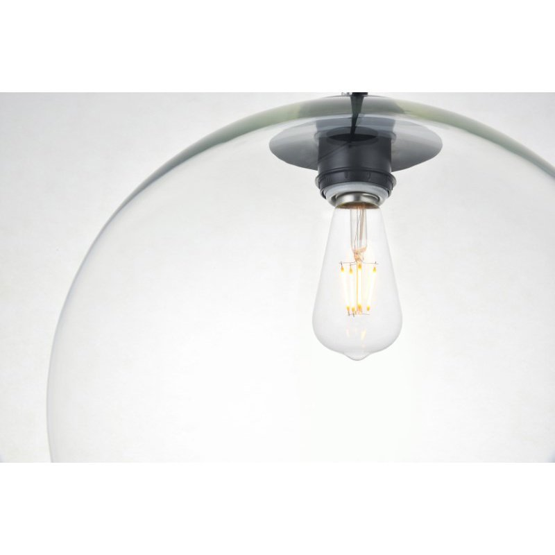 Living District Baxter 1 Light Black Pendant with Clear Glass (LD2216BK)