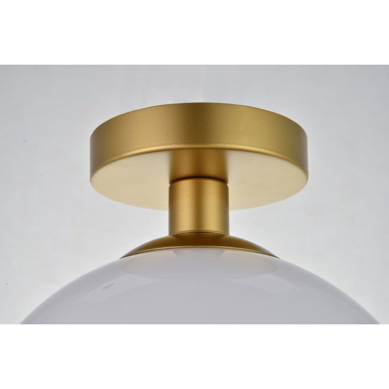 Living District Baxter 1 Light Brass Flush Mount with Frosted White Glass (LD2211BR)