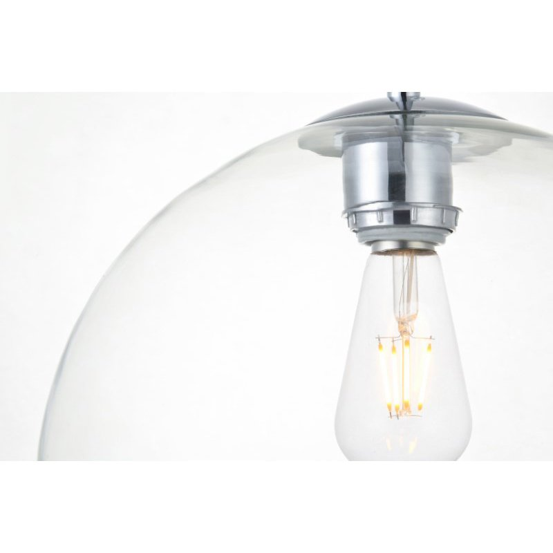 Living District Baxter 1 Light Chrome Pendant with Clear Glass (LD2224C)