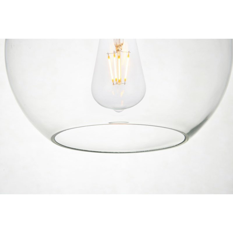 Living District Baxter 3 Lights Black Pendant with Clear Glass (LD2208BK)