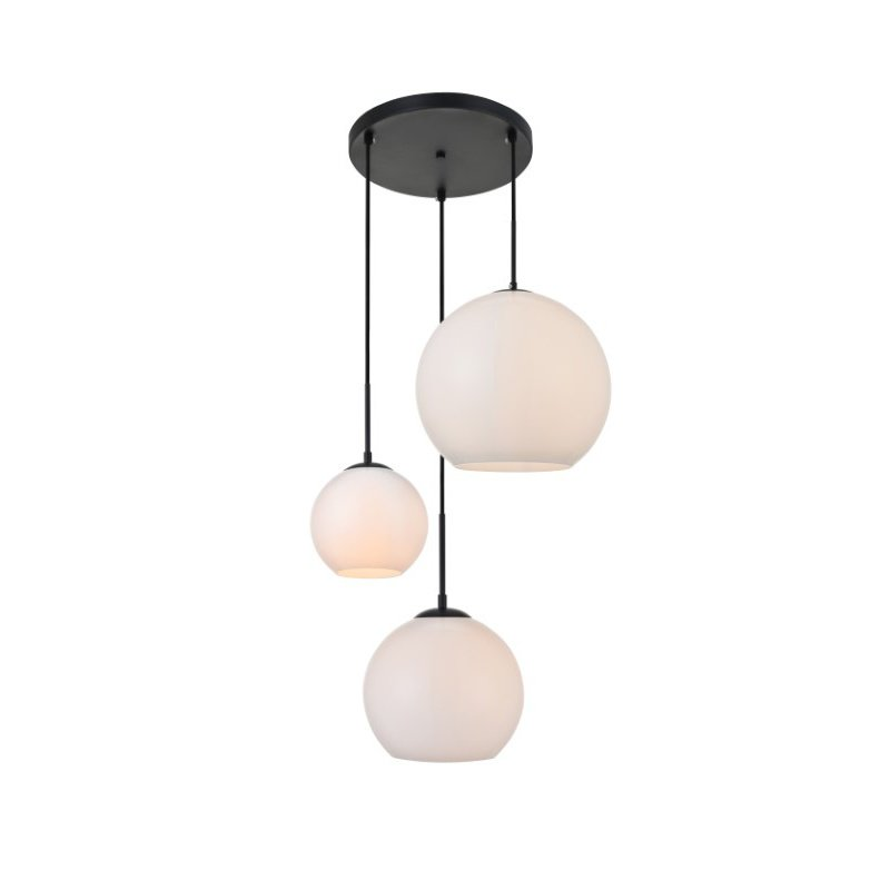 Living District Baxter 3 Lights Black Pendant with Frosted White Glass (LD2219BK)