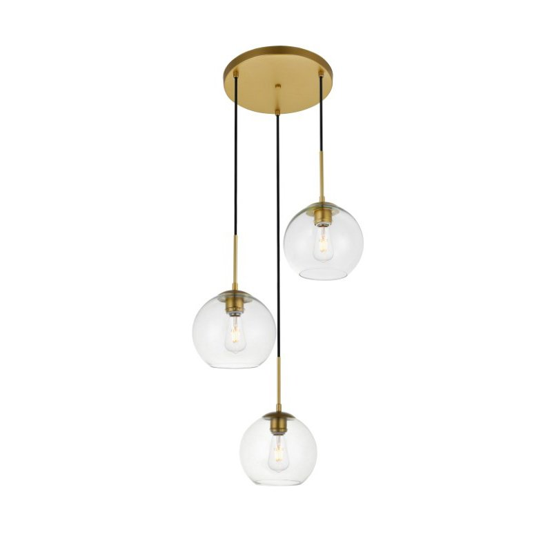 Living District Baxter 3 Lights Brass Pendant with Clear Glass (LD2208BR)