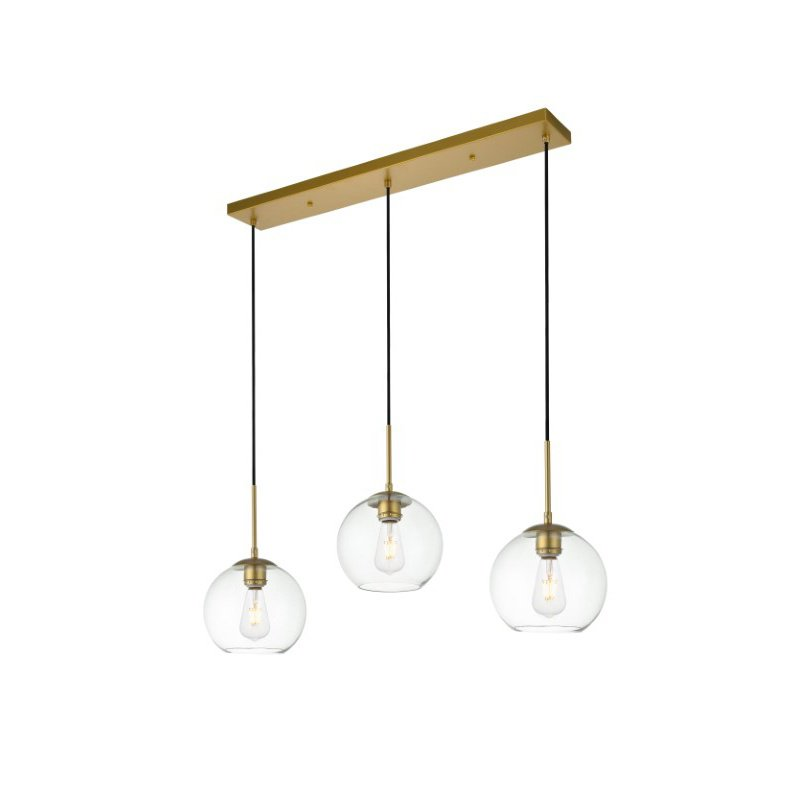 Living District Baxter 3 Lights Brass Pendant with Clear Glass (LD2236BR)