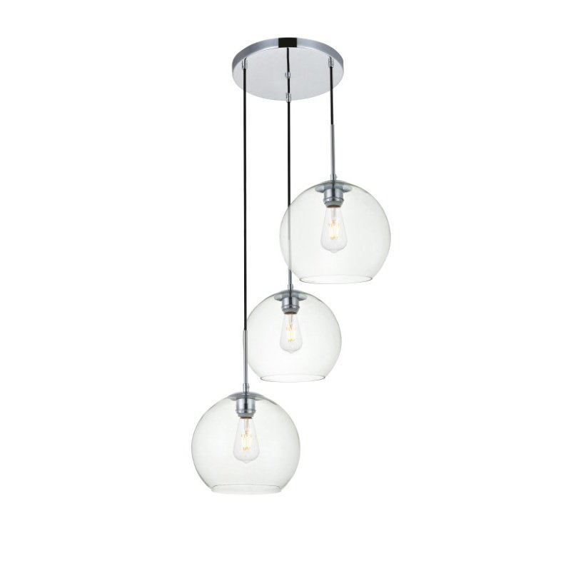 Living District Baxter 3 Lights Chrome Pendant with Clear Glass (LD2214C)
