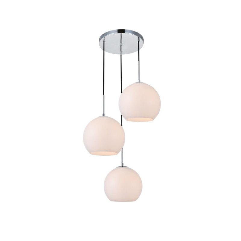 Living District Baxter 3 Lights Chrome Pendant with Frosted White Glass (LD2215C)
