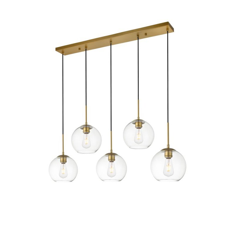 Living District Baxter 5 Lights Brass Pendant with Clear Glass (LD2228BR)