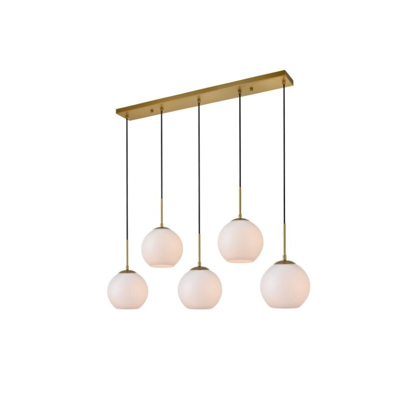 Living District Baxter 5 Lights Brass Pendant with Frosted White Glass (LD2229BR)
