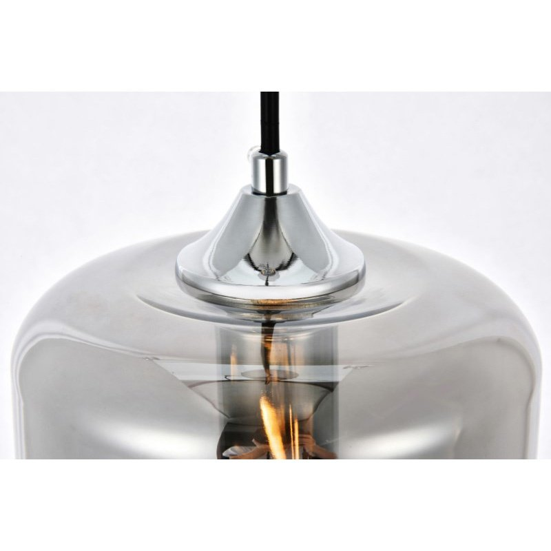 Living District Collins Collection Pendant D6.5in H10.5in Lt-1 Smoke Finish (LDPD2023)