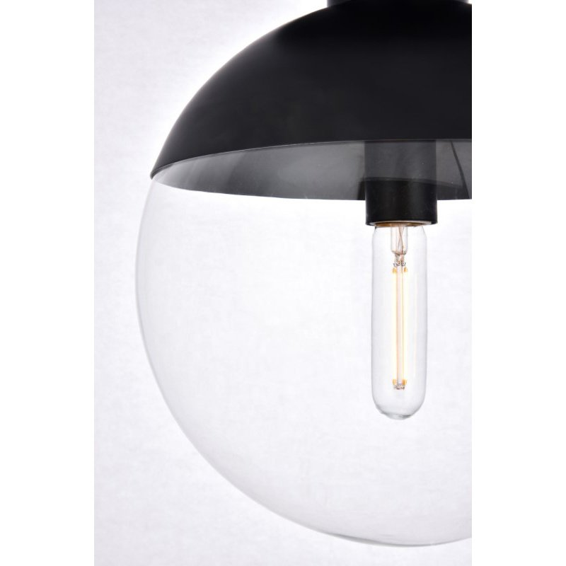 Living District Eclipse 1 Light Black Flush Mount with Clear Glass (LD6057BK)